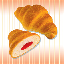 Croissants with cherry or raspberry jam