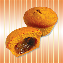 Muffin with apple jam