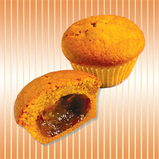 Muffin with jam with apricot taste