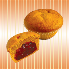 Muffin with jam with cherry and raspberry taste