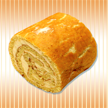 Cake roll with cream, jam and condensed milk
